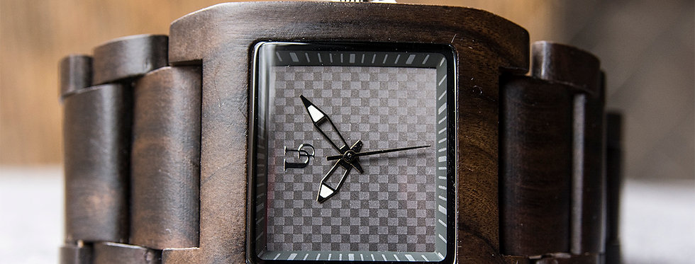 UD Personalized/Engraved Exotic Dark Square Wooden Watch