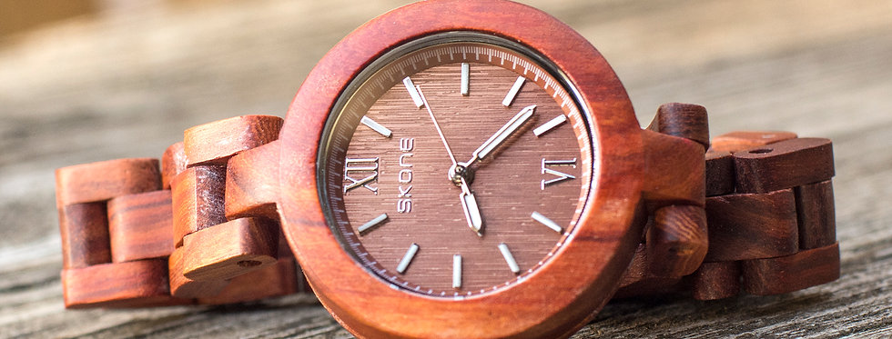 Handcraft Skone Ladies' Analog Stylish Red Wood Watch