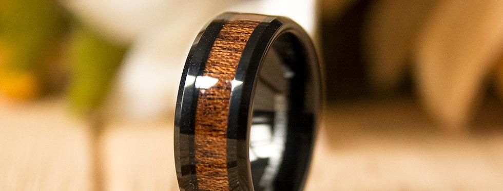 8mm Mens Tungsten Band with Koa Wood Inlay Black Tungsten Ring