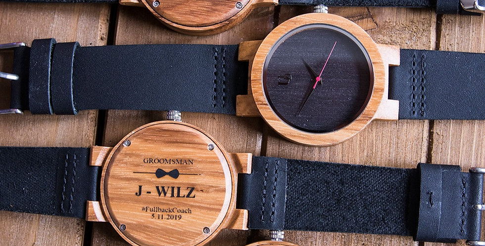 Groomsmen Gifts - Engraved Ebony Wood Watch with Genuine Leather Band