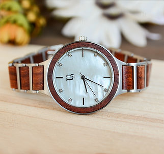 UD Red Sandal Rose Wooden Watch For Women With Wood & Stainless Steel Combined Watch Band.