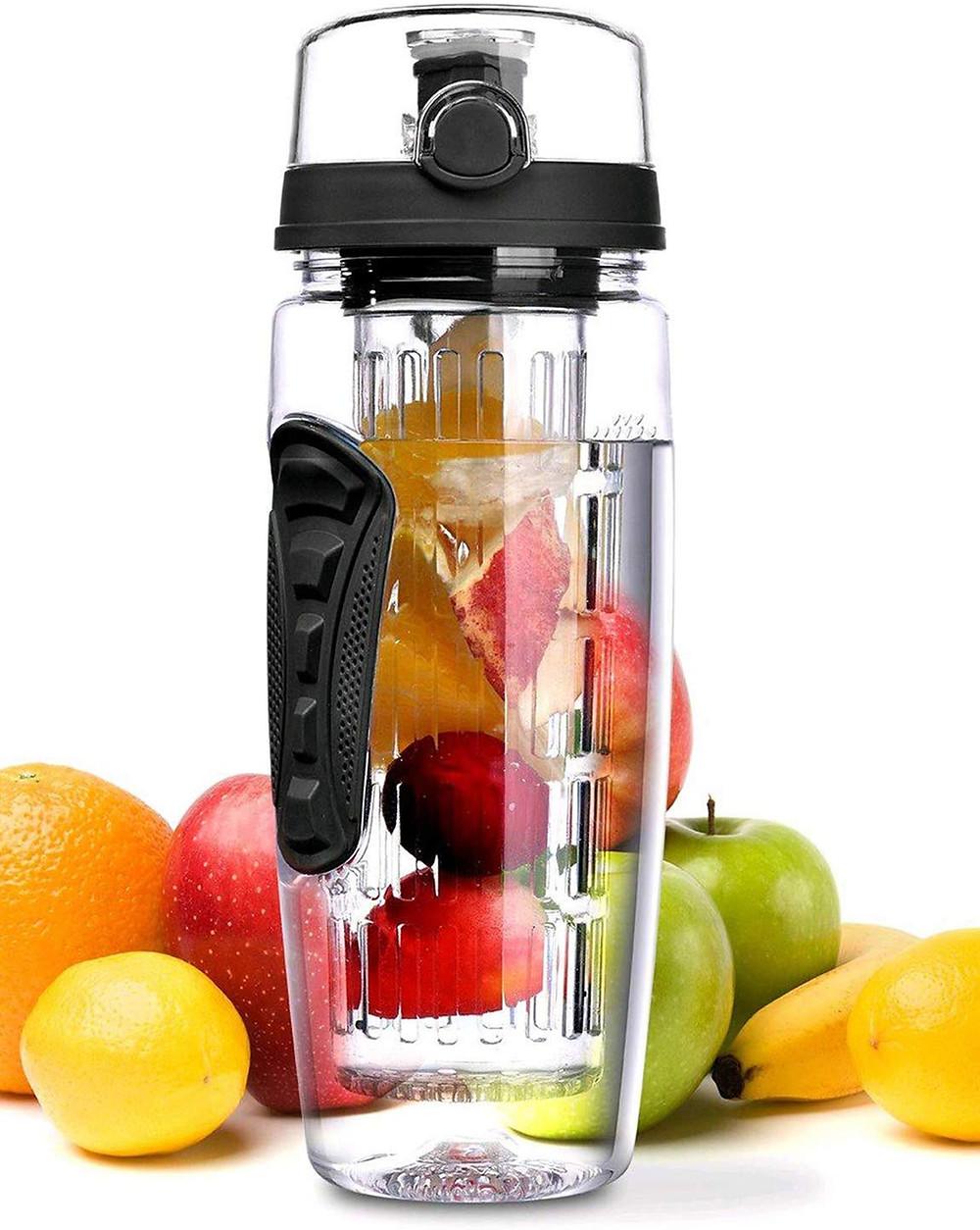Sport Fruit Infuser Water Bottle-Flip Top Lid & BPA Free Infuser