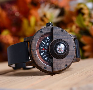 UD Compass Turntable Men Wooden Watch Leather Strap Handmade Natural Wood Watch.jpg