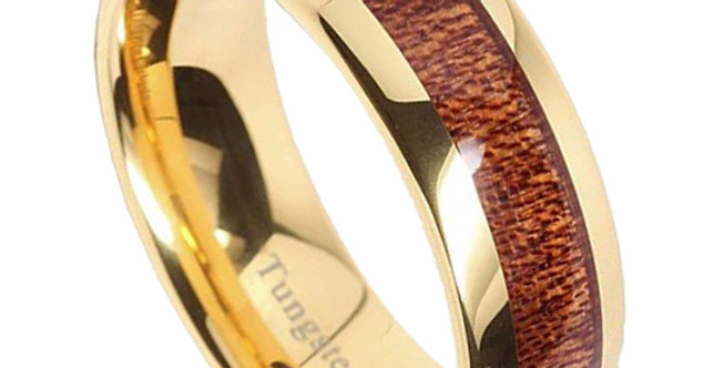 Mens Wedding Bands Tungsten Rings Koa Wood Inlay 14k Gold Plated
