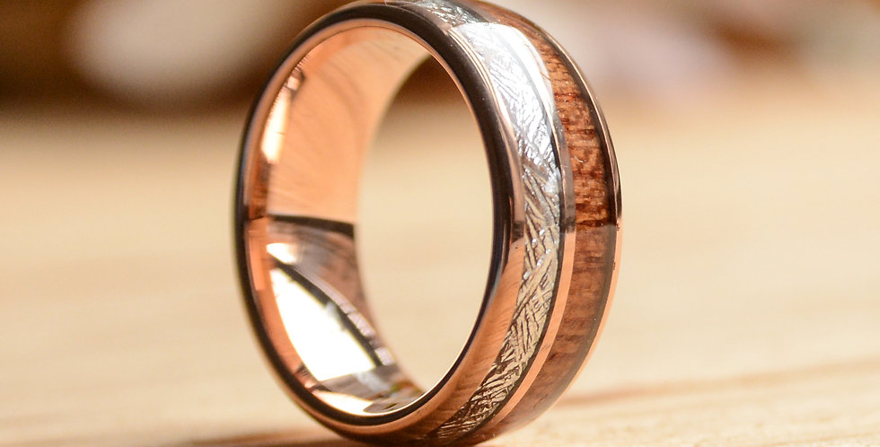 8mm Rose Gold  Tungsten Ring with Meteorite and Wood