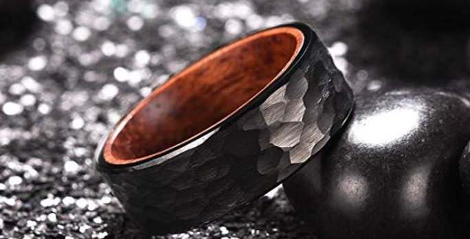 Mens Black Tungsten Carbide Ring For Men Inner Hole Inlaid Wood Hammered Texture