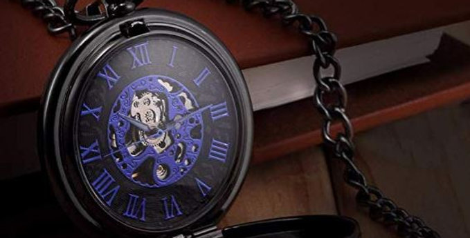 Blue Hands Scale Mechanical Skeleton Pocket Watch with Chain