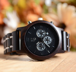 Men's Chronograph Wood Watch with Wood & Stainless Steel Combined Watch Band.jpg