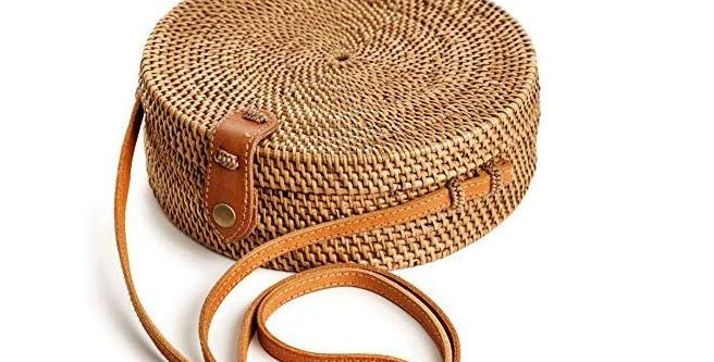 Handmade Round Rattan Bag For Women