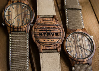 ud wood watch with genuine leather band-conval fabric-groomsmen gifts.jpg