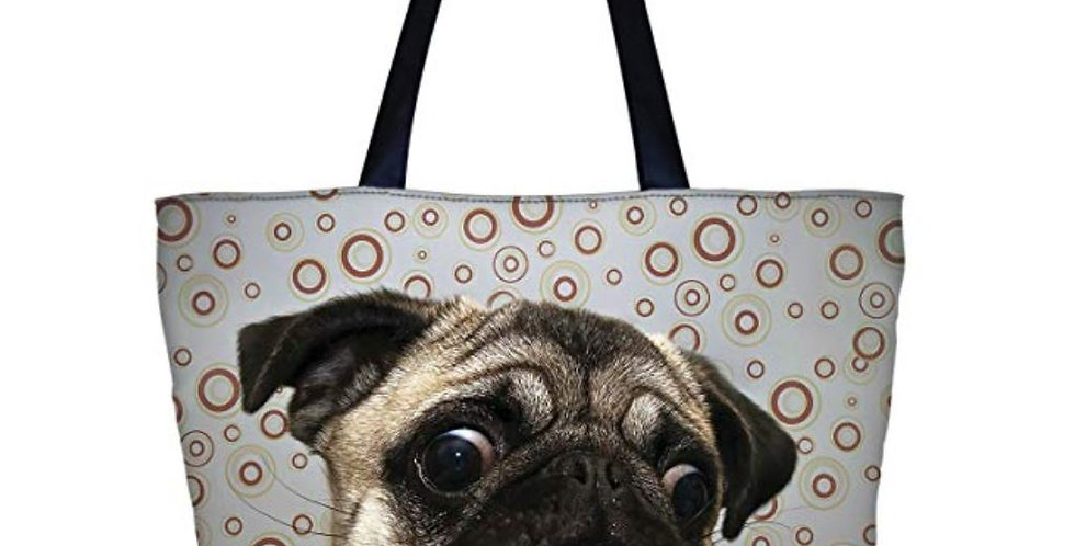 Pug Shopping Zippered Tote Bag for Women