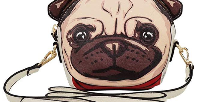 Vegan Cute Pug 3D Ear Crossbody Handbag