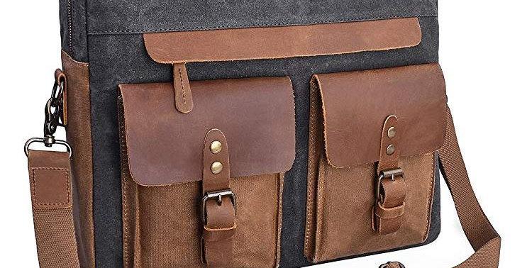 Mens Messenger Bag 15.6 Inch Vintage Genuine Leather Briefcase Waterproof