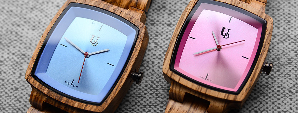 UD Personalized/Engraved His and Her Wooden Watches /Swiss Movt
