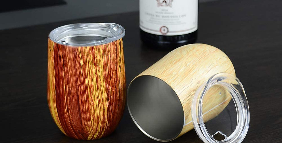 12oz Stainless Steel Wood Grain Double-insulated Stemless Glass with Lid