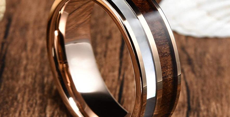 Mens Gold Plated Tungsten Carbide Ring Real KOA Wood Rare White Shell Inlay Wedd