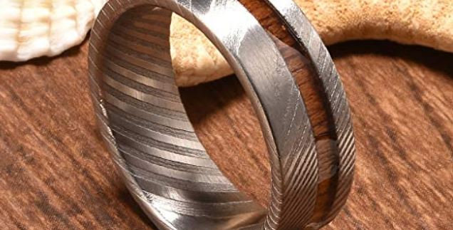 UD 8mm Mens Wedding Band with Koa Wood Inlay and Damascus Steel Pattern Rin