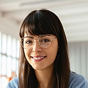 Mulher, com, óculos