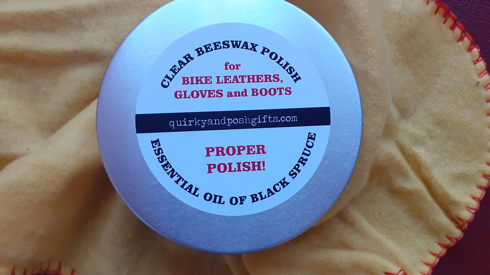 Beeswax Polish for Bike Leathers. p&p inc.