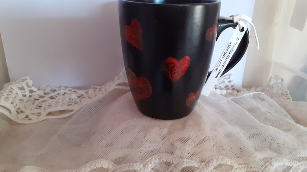 Hand painted mug p&p inc. Red and gold heart design. Stoneware