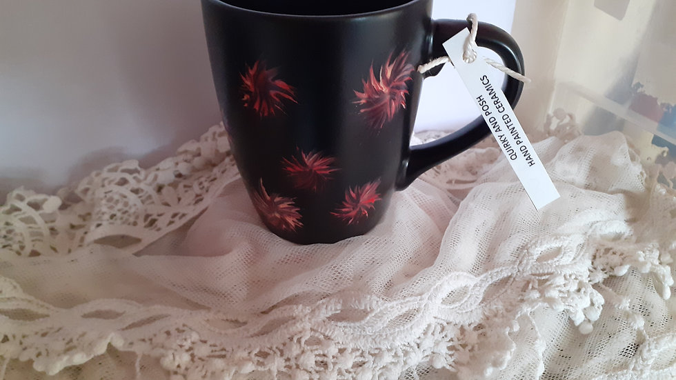 Hand painted mug p&p inc. Pink and yellow abstract flower design. Stoneware