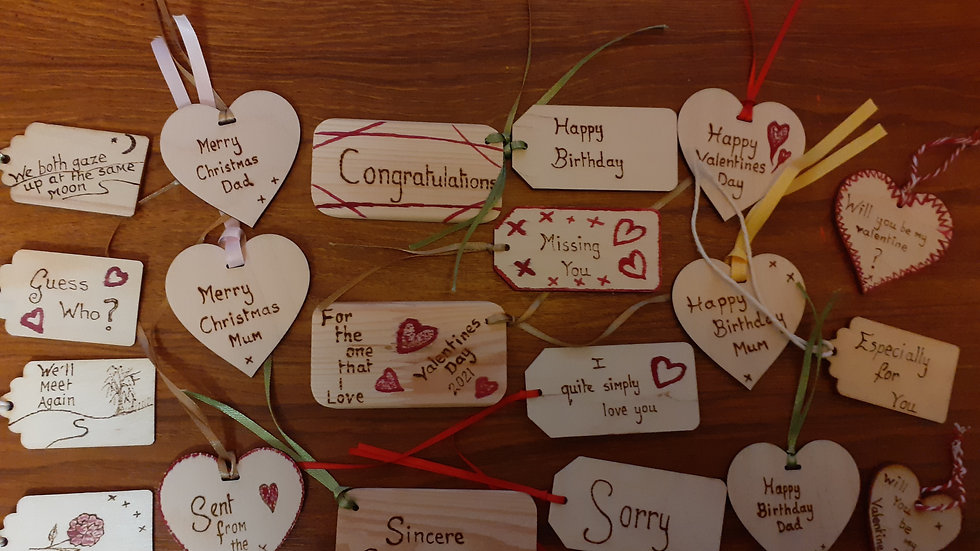 Hand engraved wooden gift tags pp inc.
