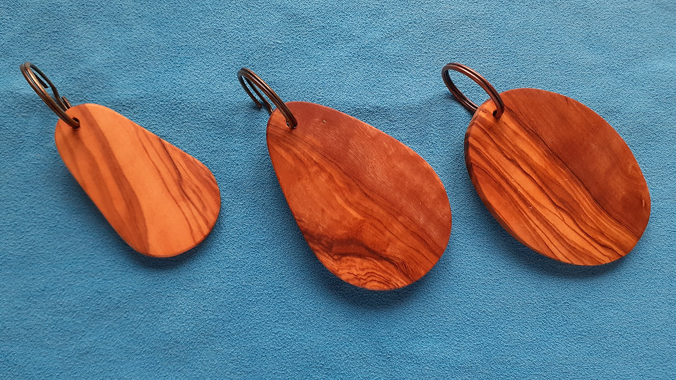 Olive wood keyrings. p&p included