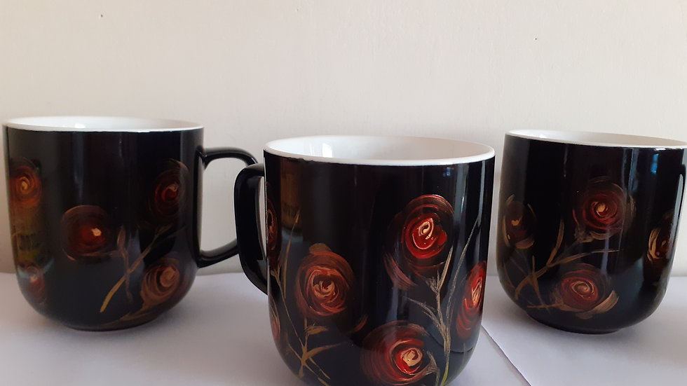 Hand painted black gloss mugs. p&p inc.