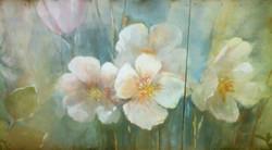 цветы, акрил по стене
