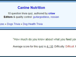 Canine Nutrition Quiz - The average score is 4/10. Can you do better?