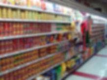 dog food cans canned supermarket shelves