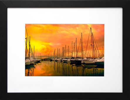 Coucher de soleil sur le port de Saint Raphaël