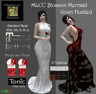 MLCC Blossom Mermaid Gown Hudded Ad Pic.