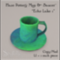 Spyralle Haze Pottery Mug & Saucer - 'Ec