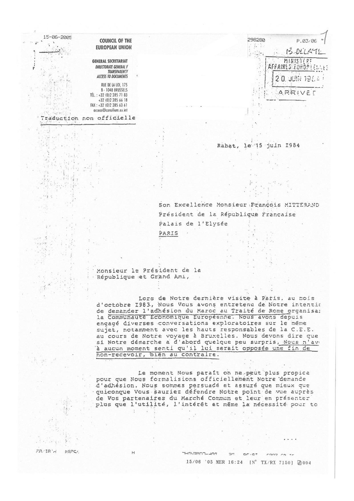 Lettre de Hassan II Mitterand 15.06.1984