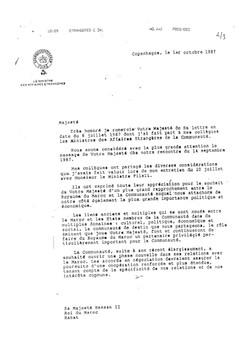 Reponse du President du Conseil Hassan II lettre du 01.10.1987