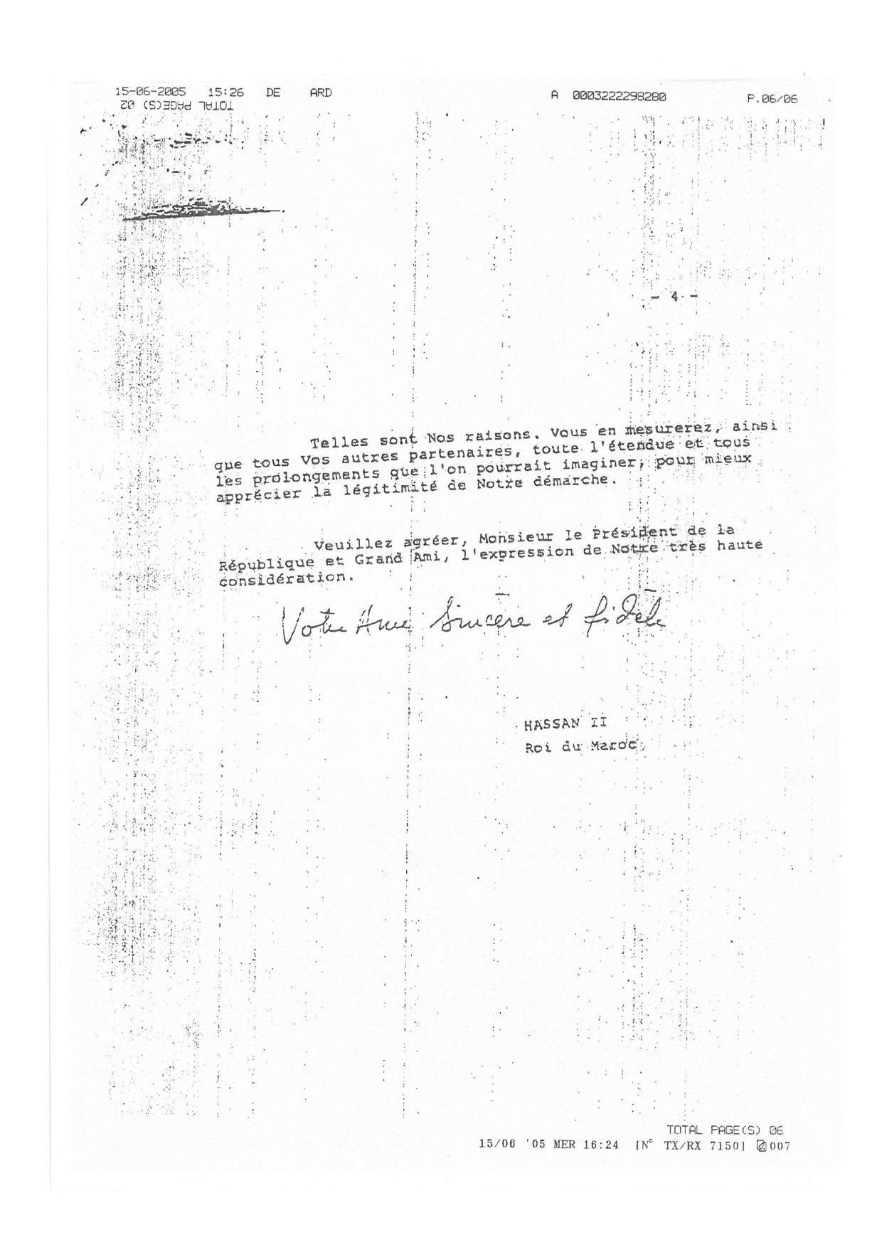 Lettre de Hassan II Mitterand 15.06.1984 four