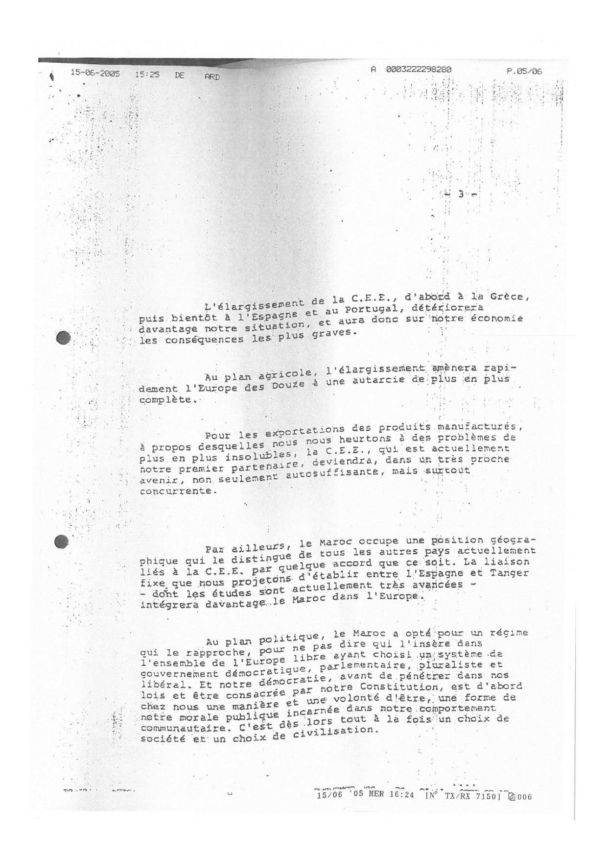 Lettre de Hassan II Mitterand 15.06.1984 three