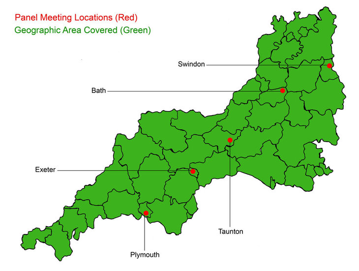 South West Design Review Panel Map showing geographical coverage and venue locations. Venue locations include Swindon, Bath, Exeter, Plymouth and Taunton