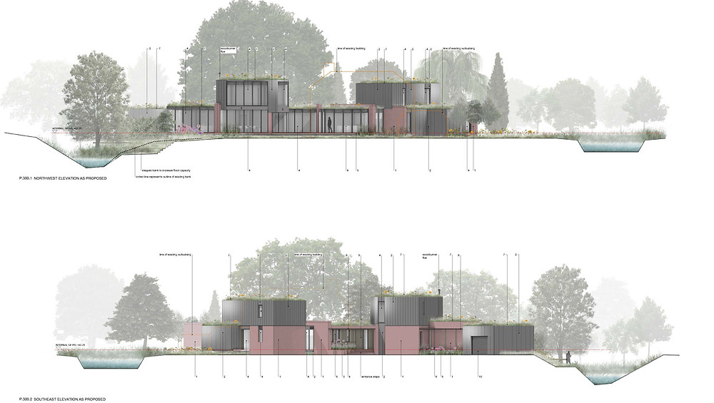 Northwest and southeast elevations presented to the design review panel for a replacement dwelling by designscape architects in Bath
