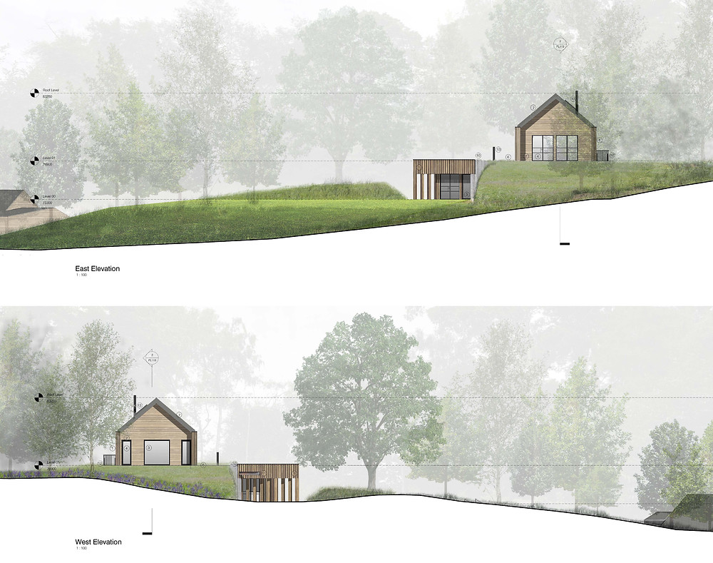 East & West (Side Elevations) - The Autarkic House, innovative para 79 house approved in Devon following engagement with The Design Review Panel - Entrance sensitively preserving historic landscape features - CGI's  by studionesh