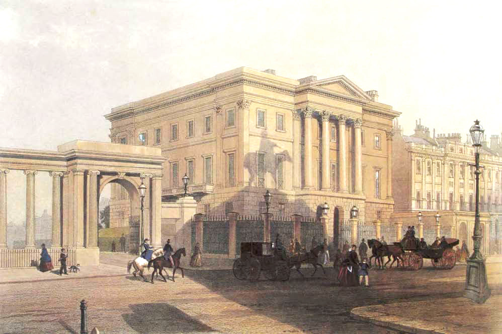 General view of the South elevation of Apsley House from the South West, circa 1853