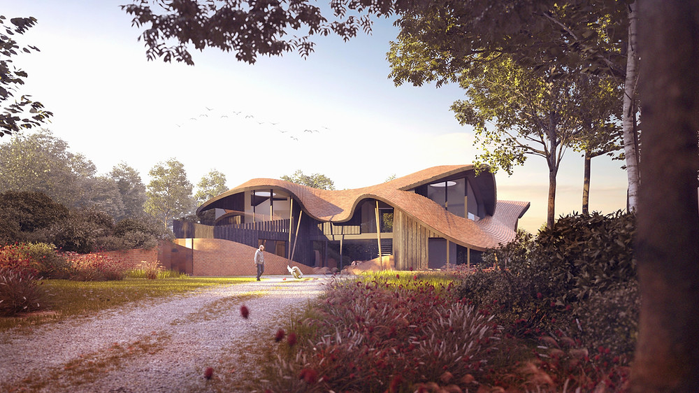 3d visualisation of an approved para 79 house in Kent by Hawkes Architectrure