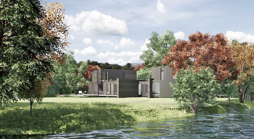 3d visual submitted to the design review panel of replacement dwelling by Designscape architects Bath