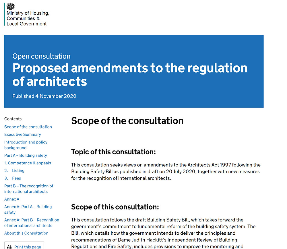 Proposed Amendments to the regulation of architects