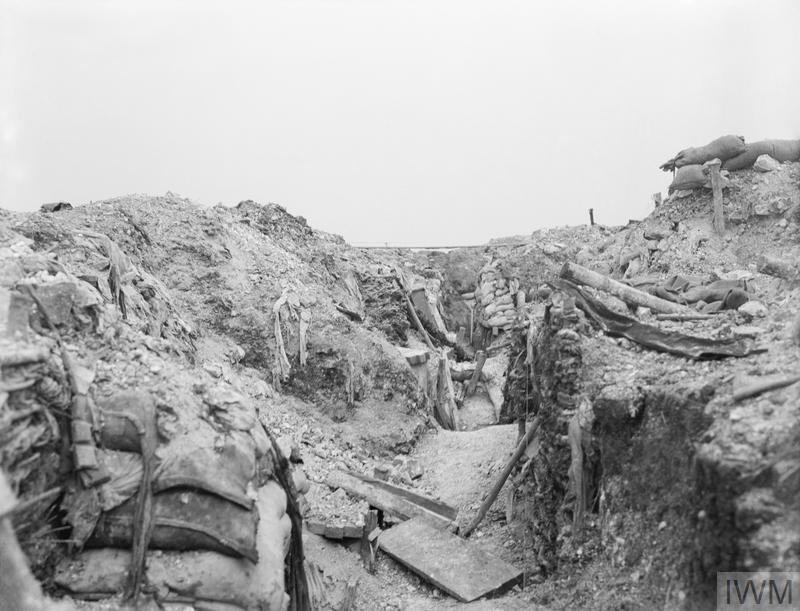 German trench after British shell fire