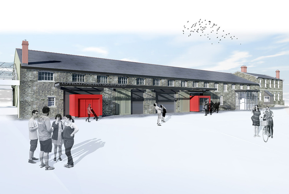 Proposed external view of the Llanelli Railway Goods Shed by Davies Sutton Architects'  - Design Review Panel Blog Article
