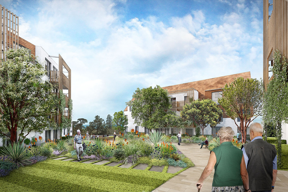 Central Courtyard View of Pegasus Life assisted living community at The Knowle, Sidmouth:- CGIs done by PreConstruct