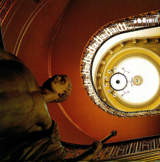 View of The Principal Staircase with the marble statue by Antonio Canova of Napoleon