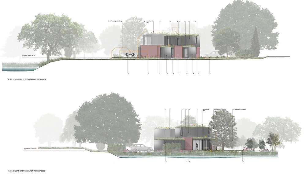 Northeast and southwest elevations presented to the design review panel for a replacement dwelling by designscape architects in Bath